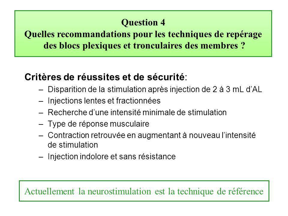 Question 4 Quelles recommandations pour les techniques de repérage