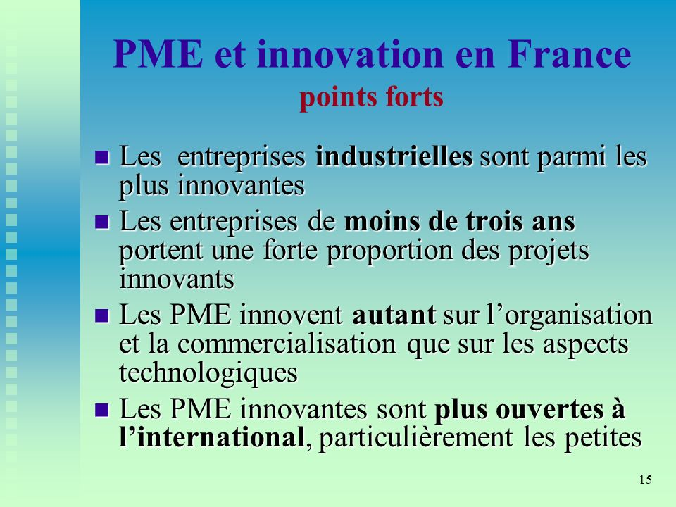 PME et innovation en France points forts