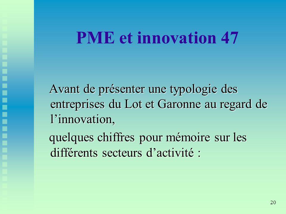 PME et innovation 47 Avant de présenter une typologie des entreprises du Lot et Garonne au regard de l'innovation,