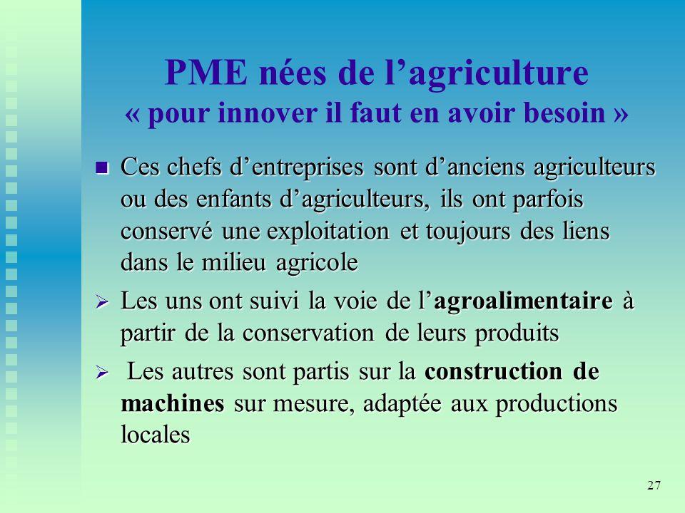 PME nées de l'agriculture « pour innover il faut en avoir besoin »