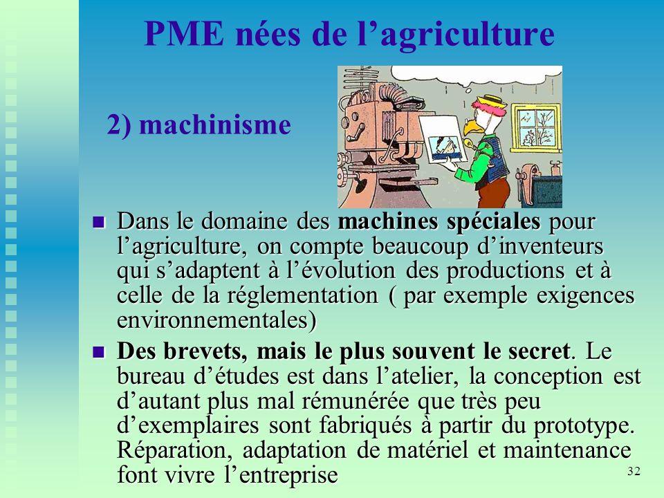 PME nées de l'agriculture 2) machinisme
