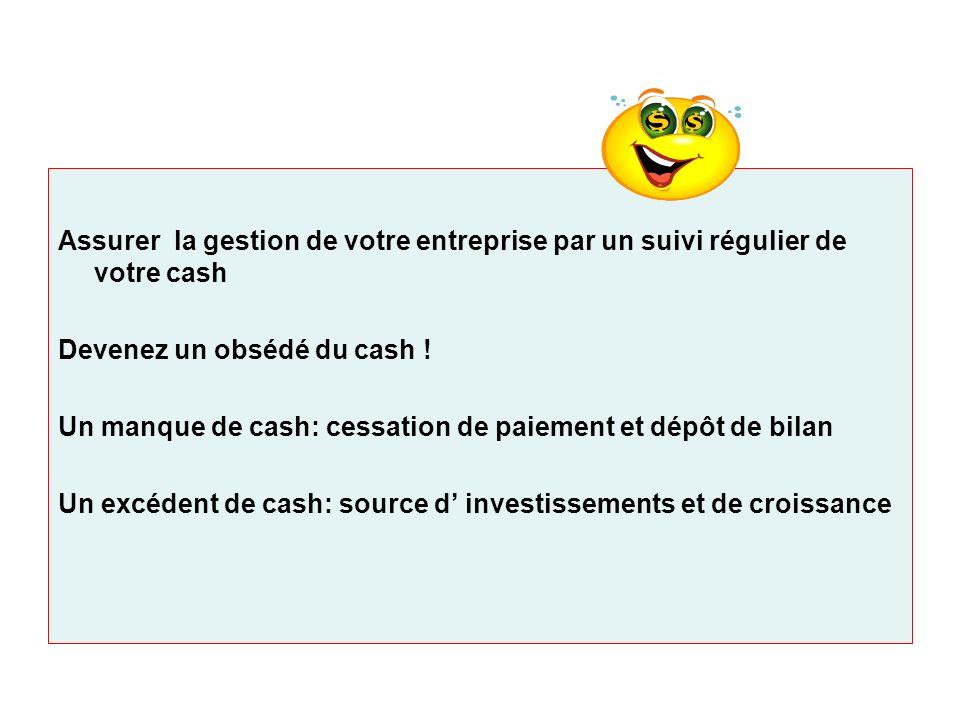 Assurer la gestion de votre entreprise par un suivi régulier de votre cash