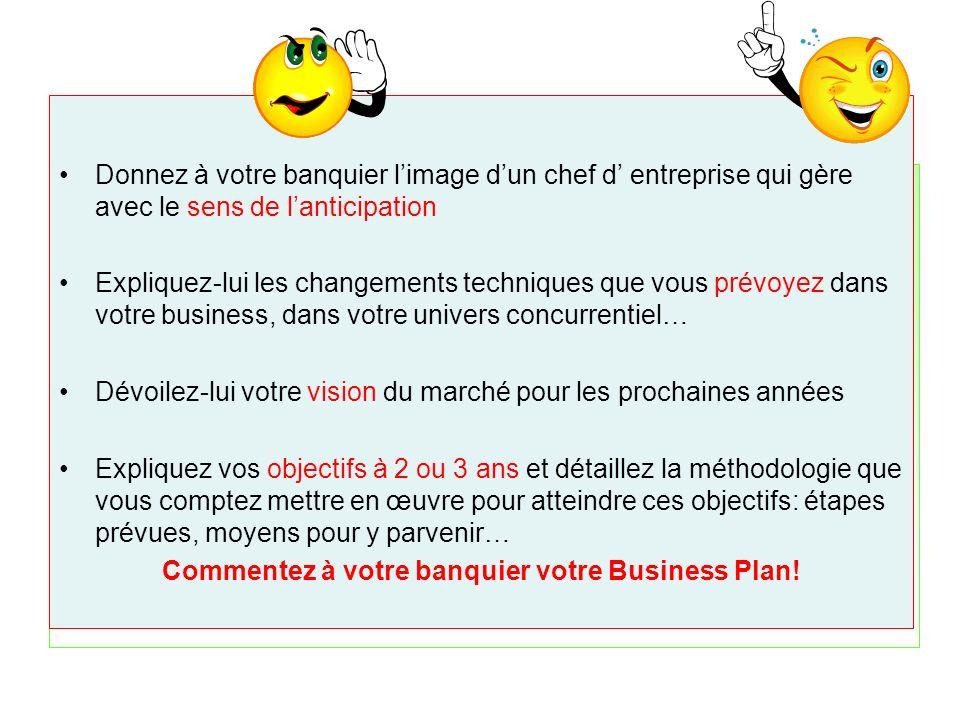 Commentez à votre banquier votre Business Plan!