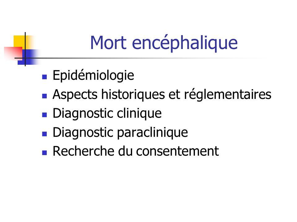 Mort encéphalique Epidémiologie Aspects historiques et réglementaires