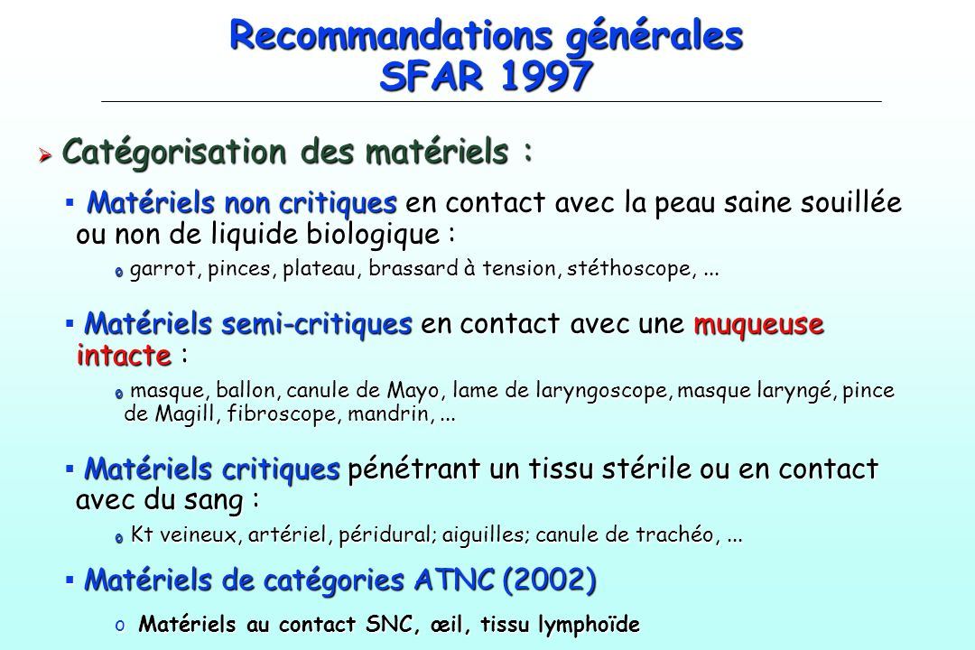 Recommandations générales SFAR 1997