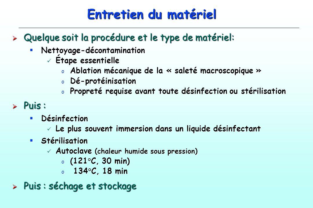 Entretien du matériel Quelque soit la procédure et le type de matériel: Nettoyage-décontamination.