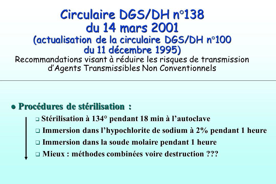 Circulaire DGS/DH n°138 du 14 mars 2001 (actualisation de la circulaire DGS/DH n°100 du 11 décembre 1995) Recommandations visant à réduire les risques de transmission d'Agents Transmissibles Non Conventionnels
