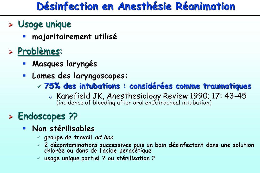 Désinfection en Anesthésie Réanimation