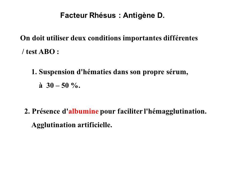 Facteur Rhésus : Antigène D.