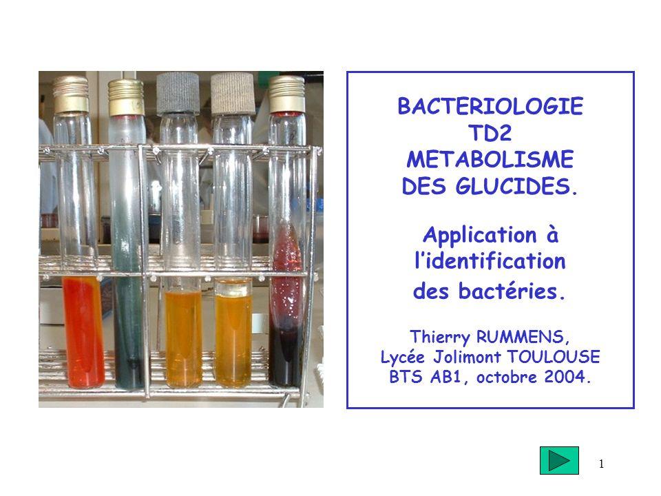 BACTERIOLOGIE TD2 METABOLISME DES GLUCIDES