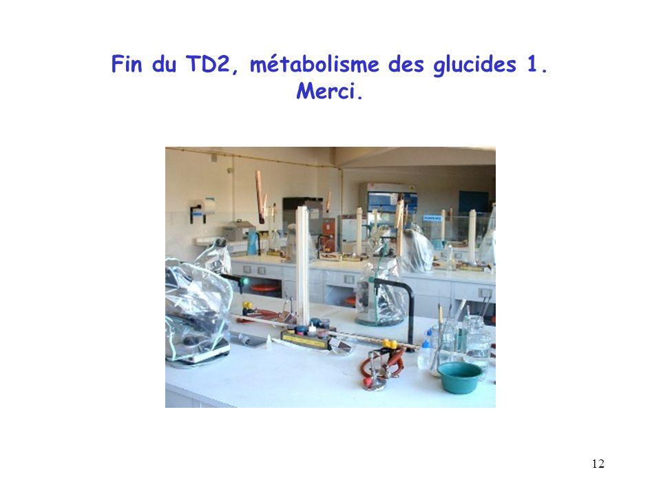 Fin du TD2, métabolisme des glucides 1. Merci.