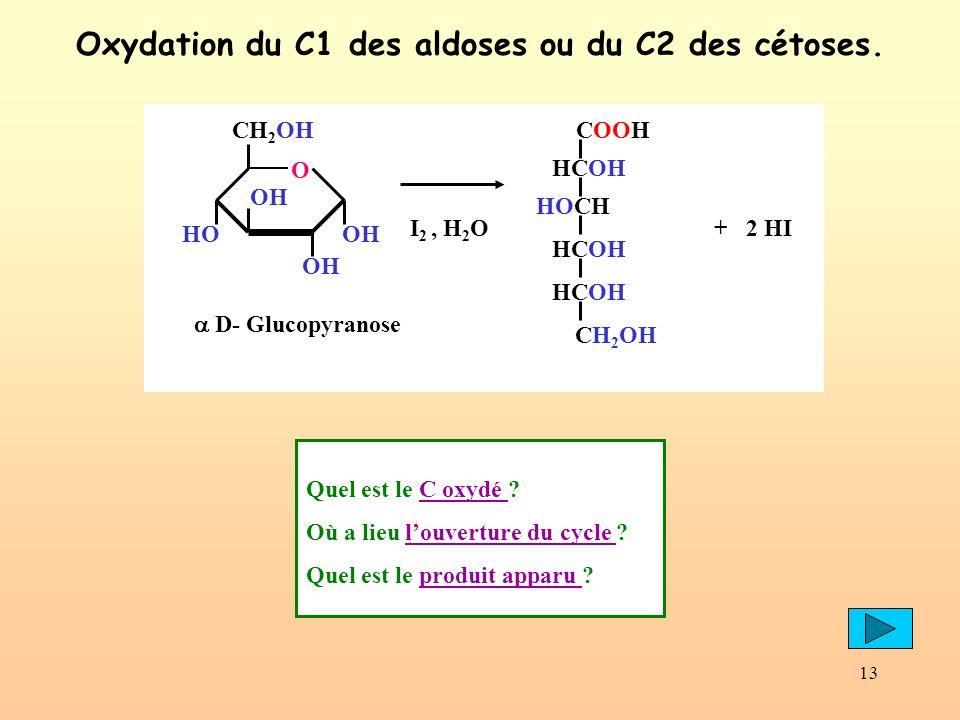 Oxydation du C1 des aldoses ou du C2 des cétoses.