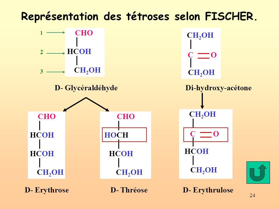 Représentation des tétroses selon FISCHER.