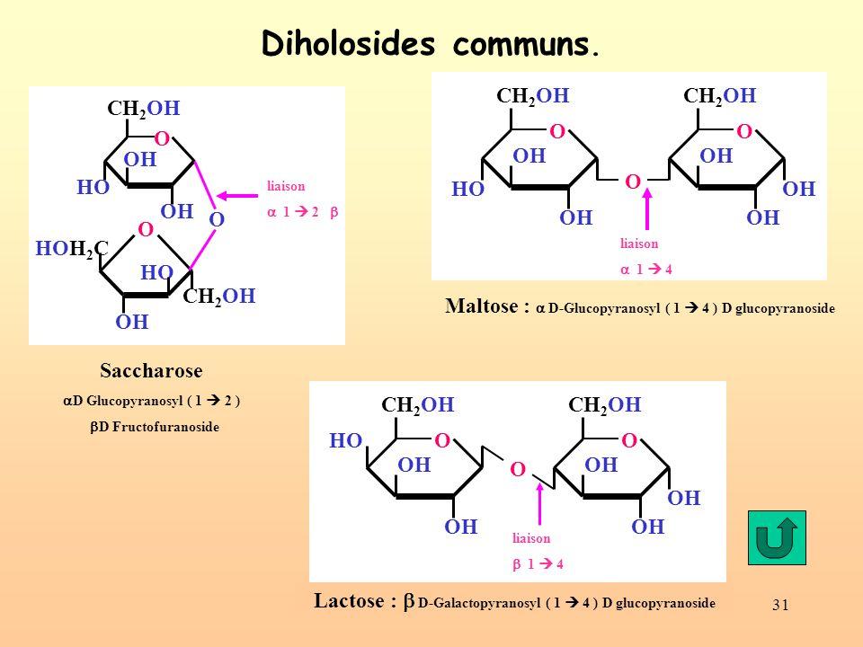 Diholosides communs. OH CH2OH O HO