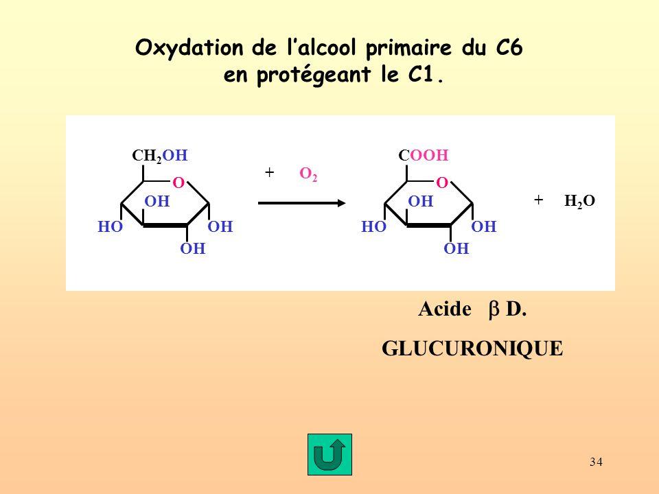 Oxydation de l'alcool primaire du C6 en protégeant le C1.