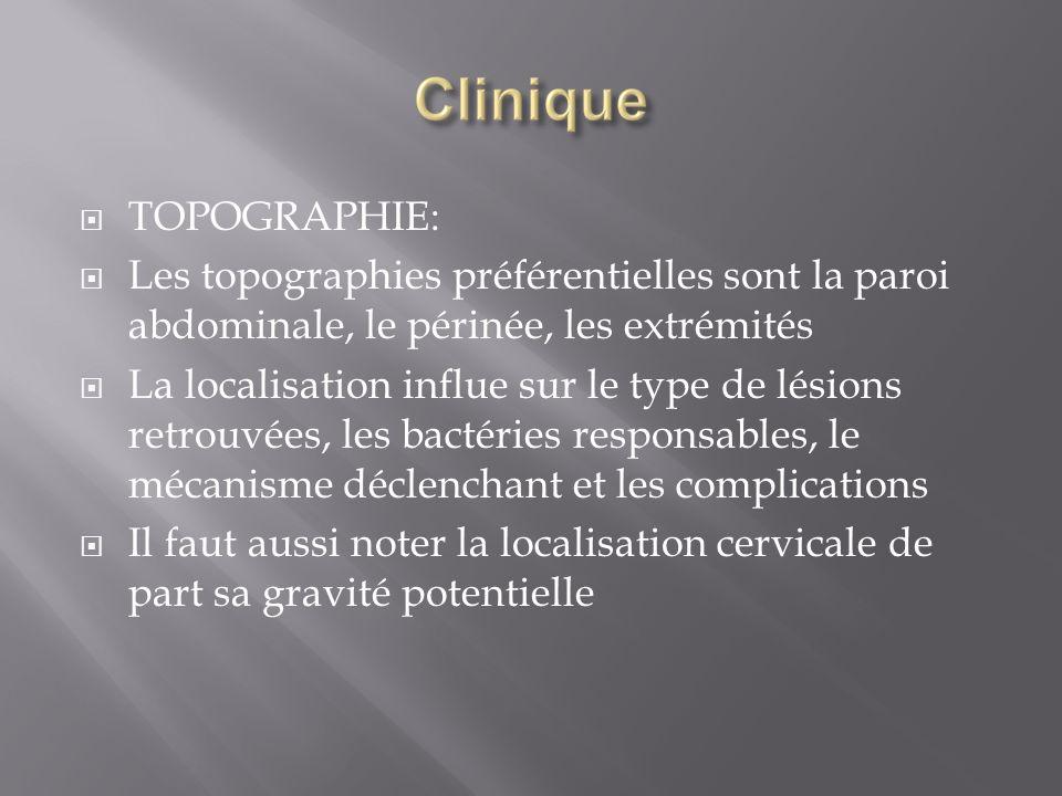 TOPOGRAPHIE: Les topographies préférentielles sont la paroi abdominale, le périnée, les extrémités.