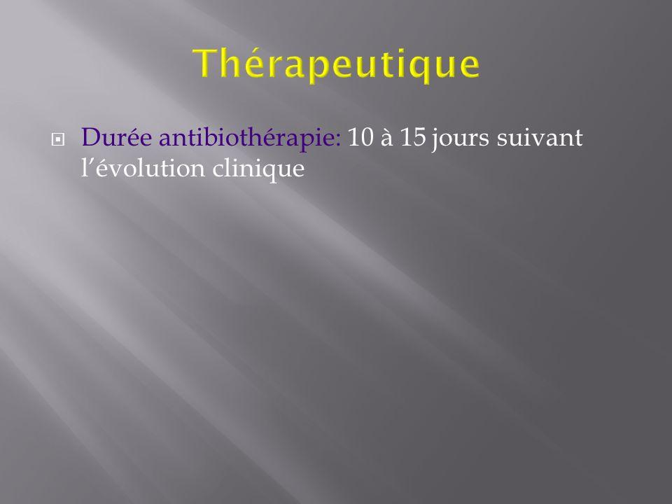 Thérapeutique Durée antibiothérapie: 10 à 15 jours suivant l'évolution clinique