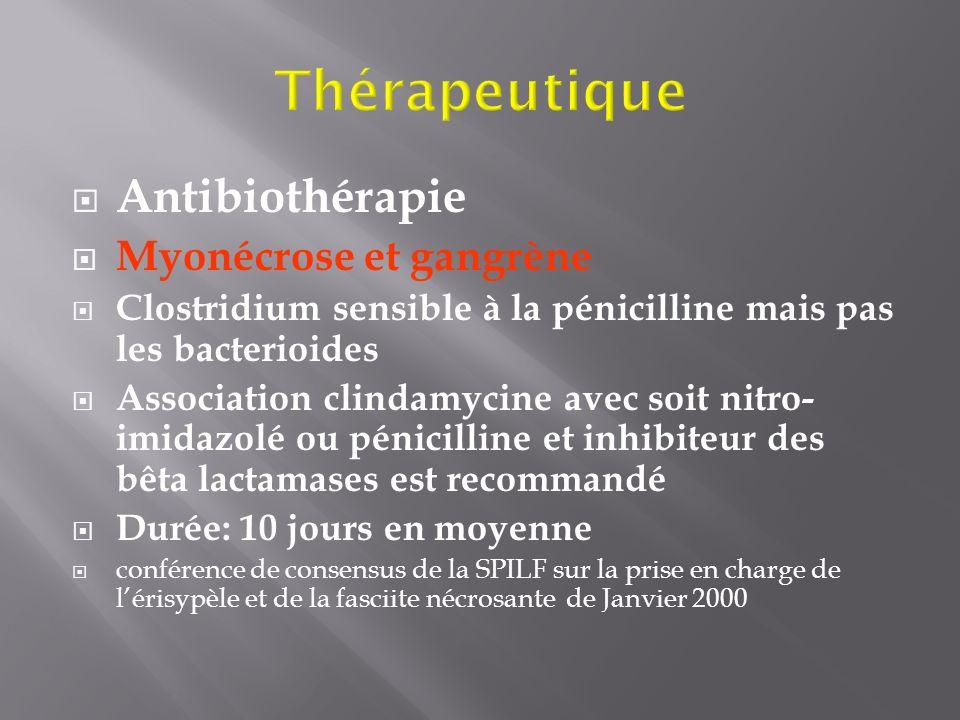 Thérapeutique Antibiothérapie Myonécrose et gangrène