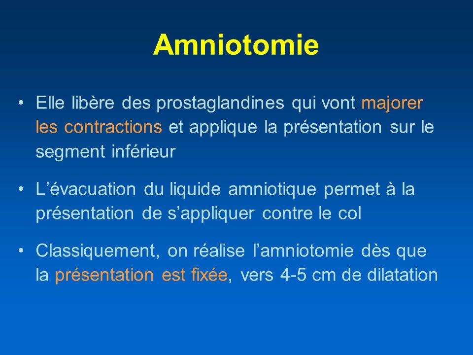 Amniotomie Elle libère des prostaglandines qui vont majorer les contractions et applique la présentation sur le segment inférieur.