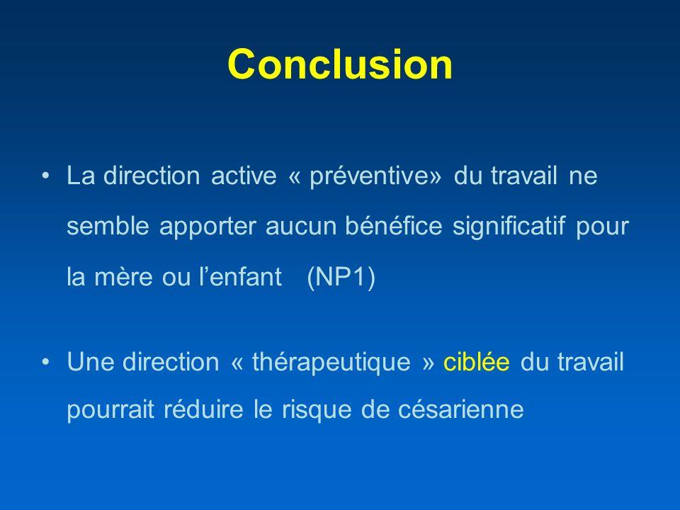 ConclusionLa direction active « préventive» du travail ne semble apporter aucun bénéfice significatif pour la mère ou l'enfant (NP1)