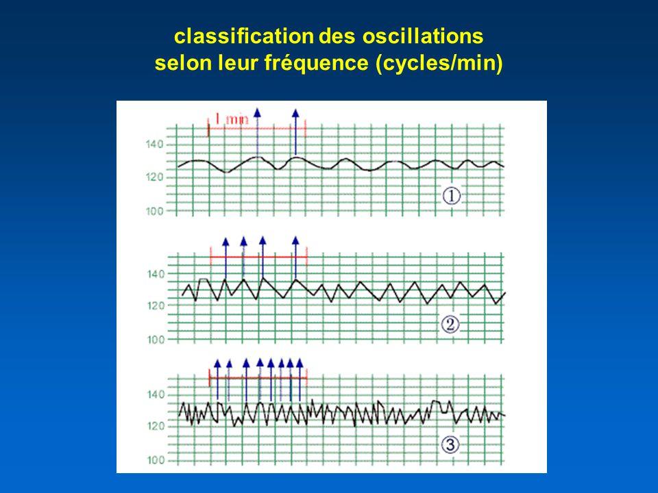 classification des oscillations selon leur fréquence (cycles/min)