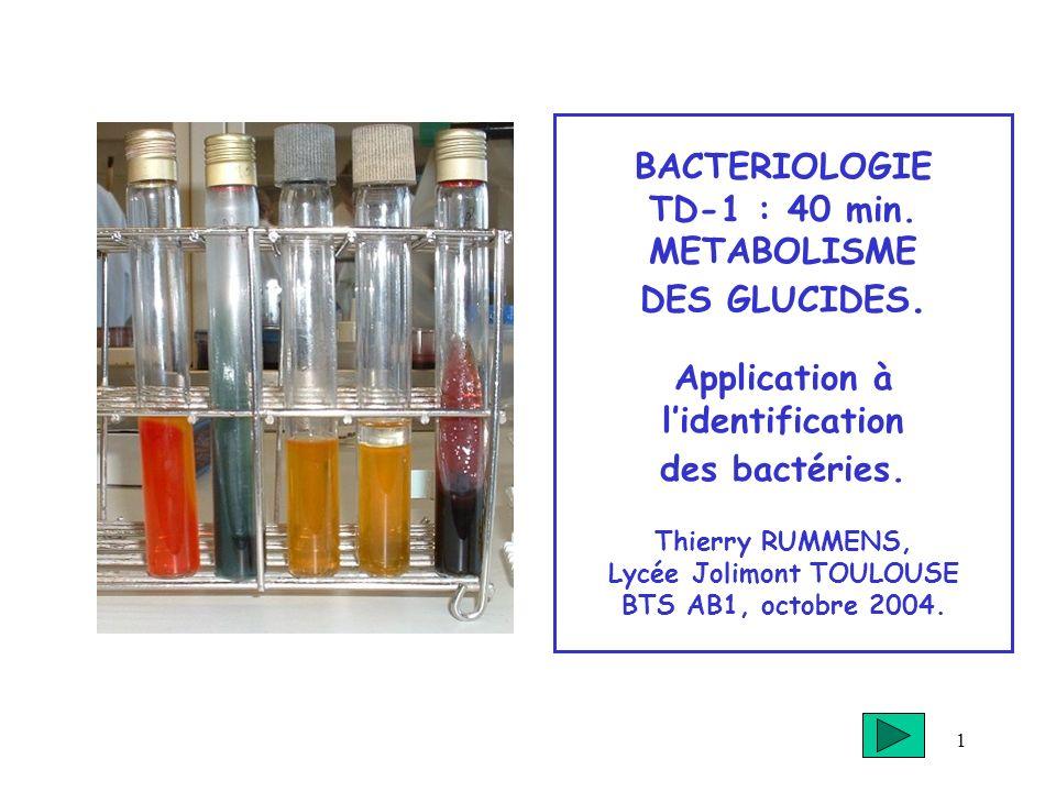 BACTERIOLOGIE TD-1 : 40 min. METABOLISME DES GLUCIDES