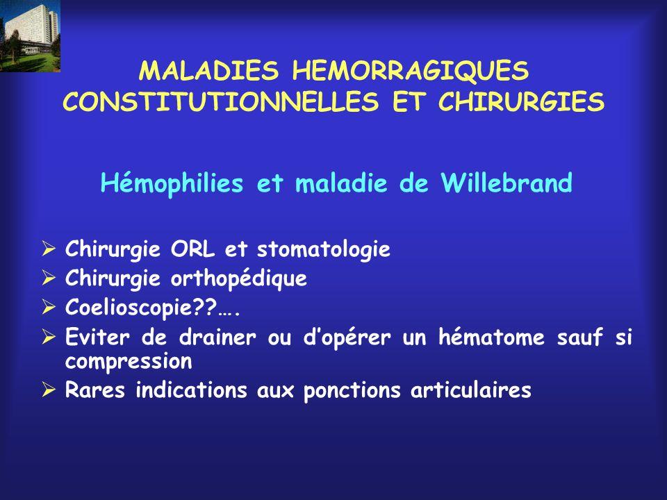 MALADIES HEMORRAGIQUES CONSTITUTIONNELLES ET CHIRURGIES