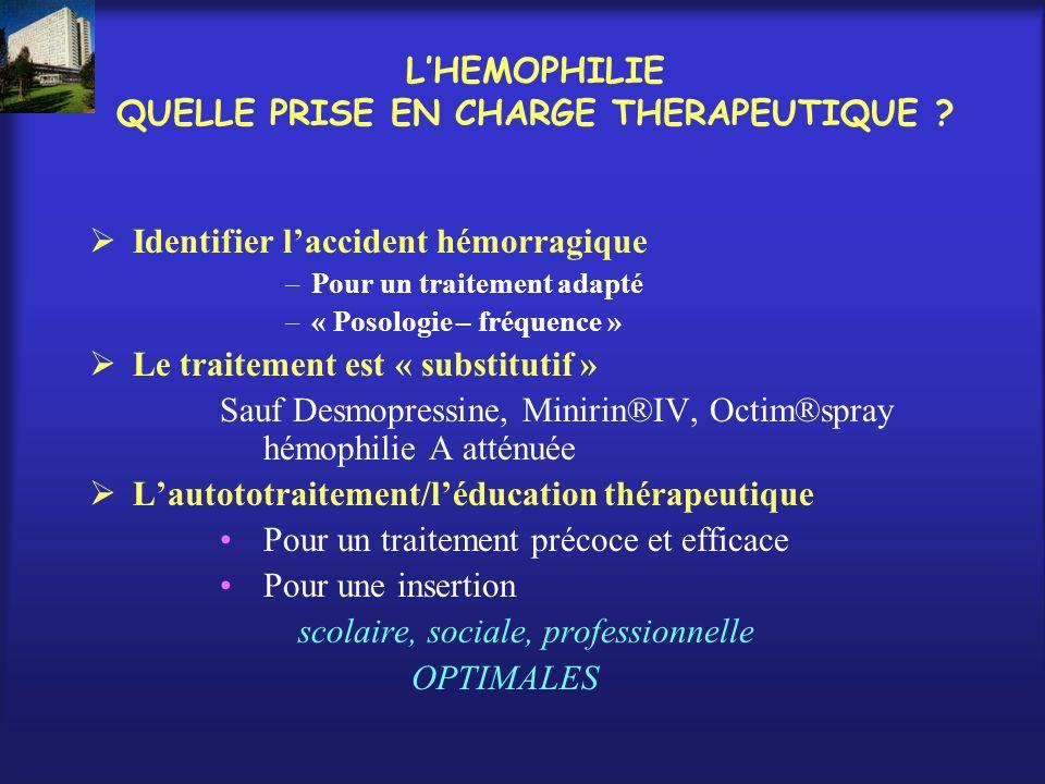 L'HEMOPHILIE QUELLE PRISE EN CHARGE THERAPEUTIQUE