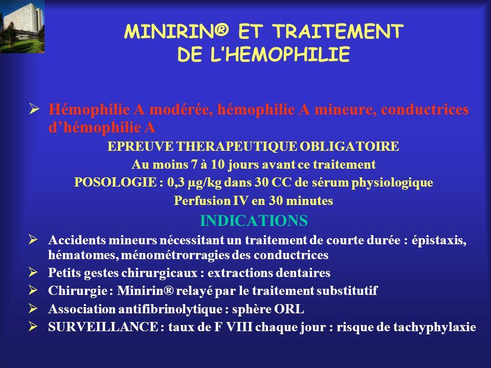 MINIRIN® ET TRAITEMENT DE L'HEMOPHILIE