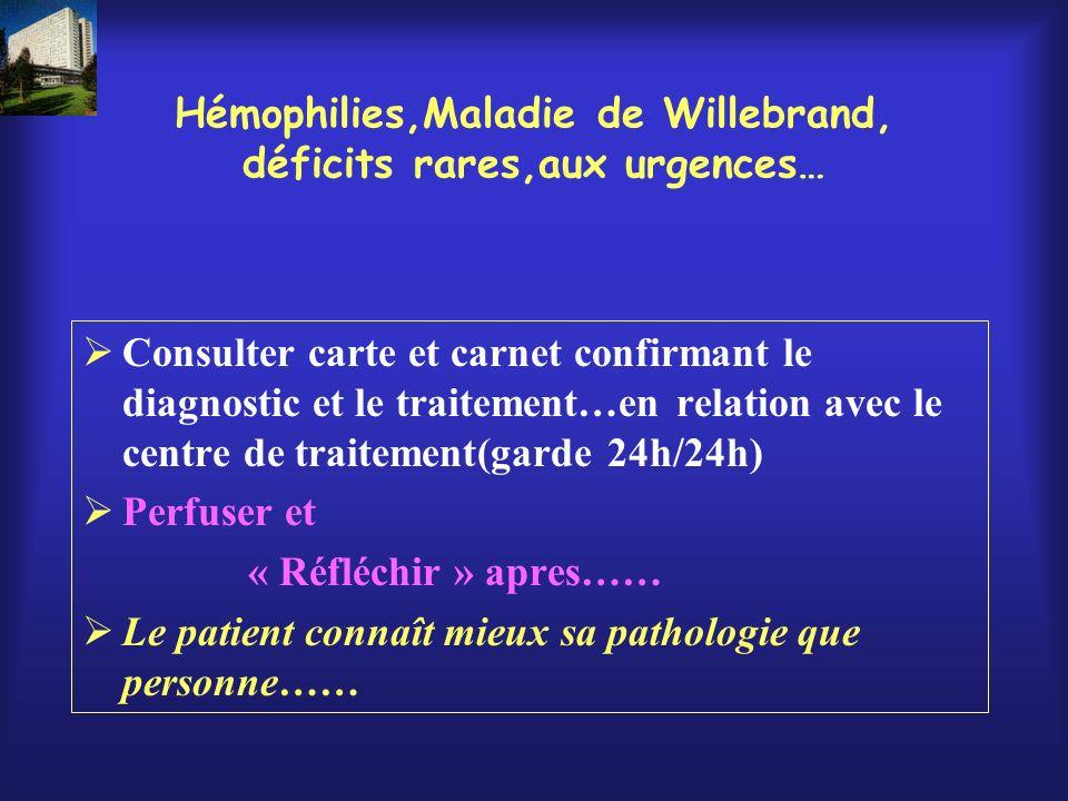 Hémophilies,Maladie de Willebrand, déficits rares,aux urgences…