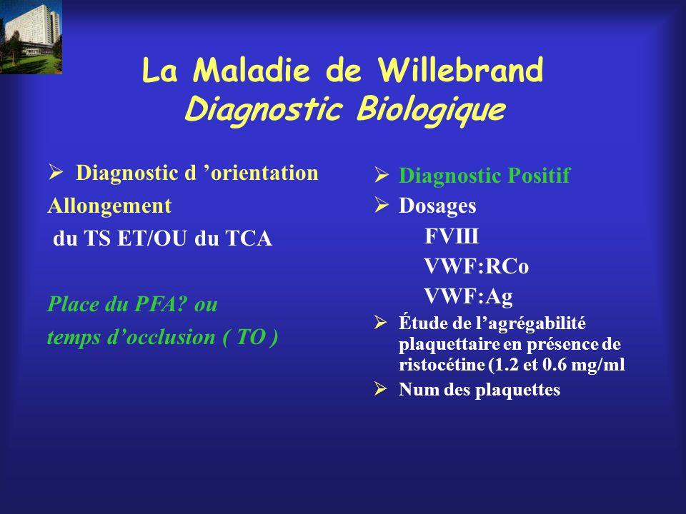 La Maladie de Willebrand Diagnostic Biologique
