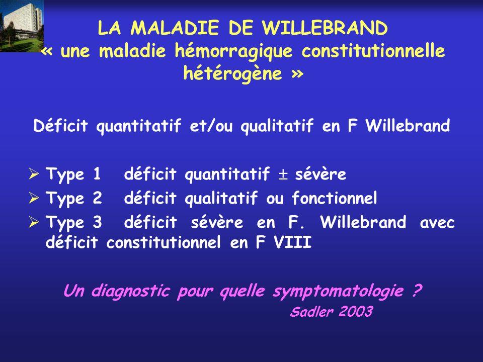 LA MALADIE DE WILLEBRAND « une maladie hémorragique constitutionnelle hétérogène »