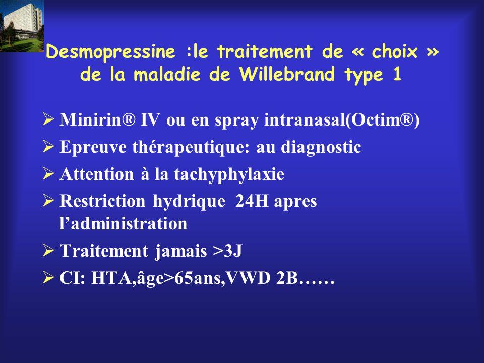Desmopressine :le traitement de « choix » de la maladie de Willebrand type 1