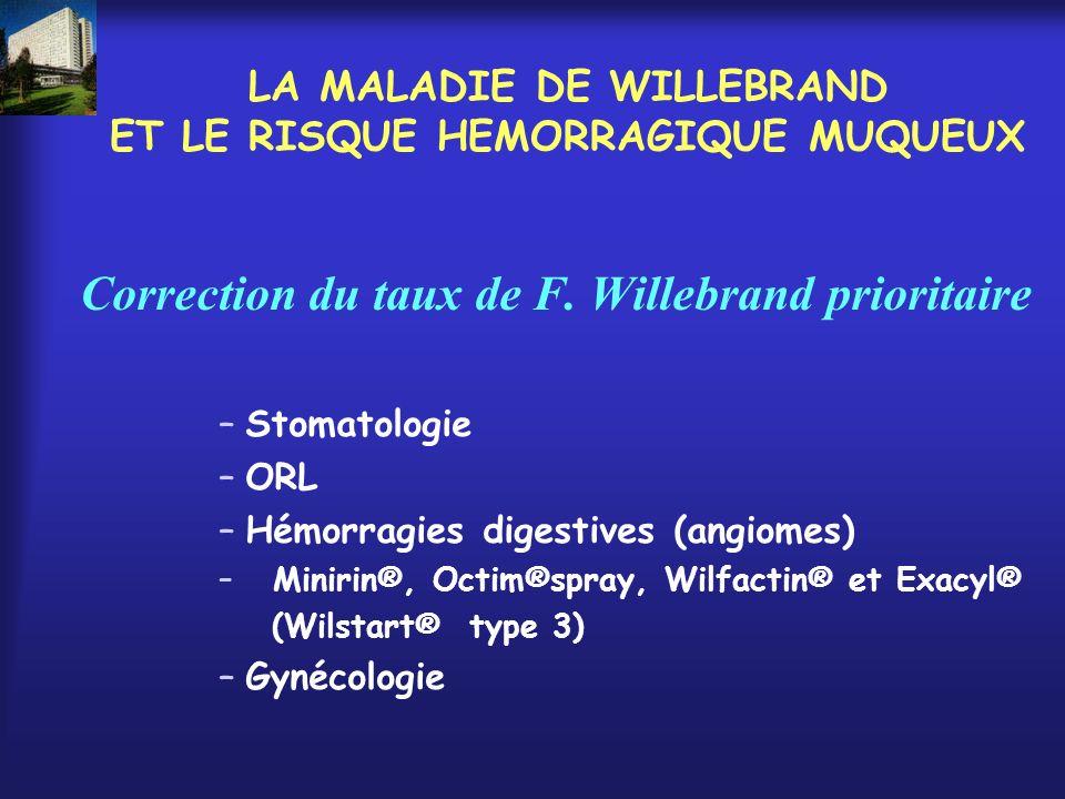 LA MALADIE DE WILLEBRAND ET LE RISQUE HEMORRAGIQUE MUQUEUX