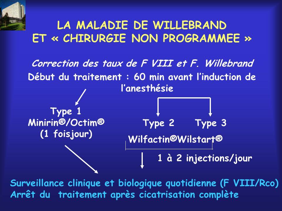 LA MALADIE DE WILLEBRAND ET « CHIRURGIE NON PROGRAMMEE »