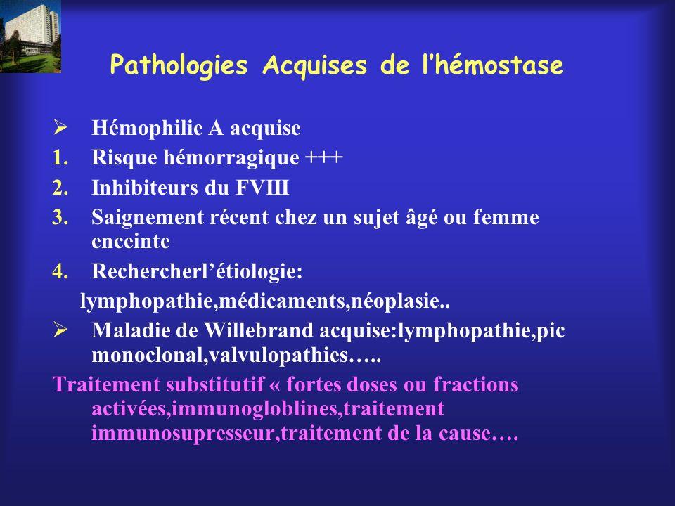 Pathologies Acquises de l'hémostase