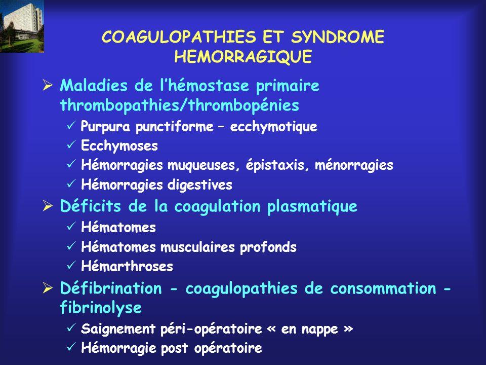 COAGULOPATHIES ET SYNDROME HEMORRAGIQUE
