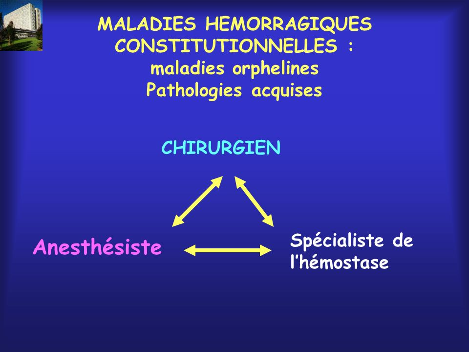 MALADIES HEMORRAGIQUES CONSTITUTIONNELLES : maladies orphelines Pathologies acquises