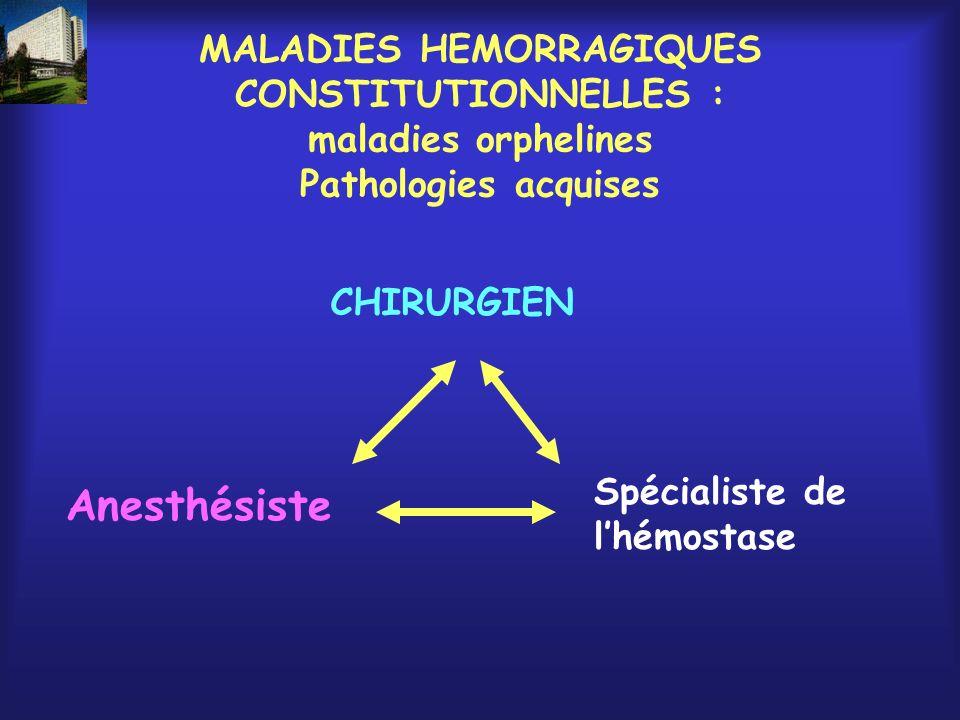 MALADIES HEMORRAGIQUES CONSTITUTIONNELLES : maladies orphelines Pathologies acquises
