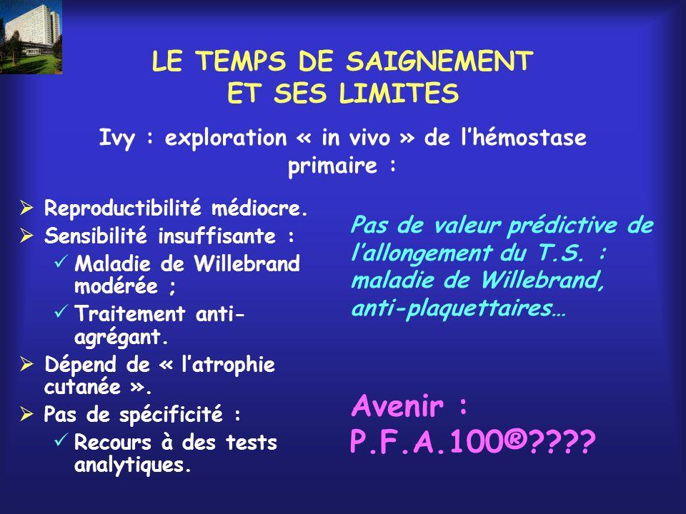 LE TEMPS DE SAIGNEMENT ET SES LIMITES