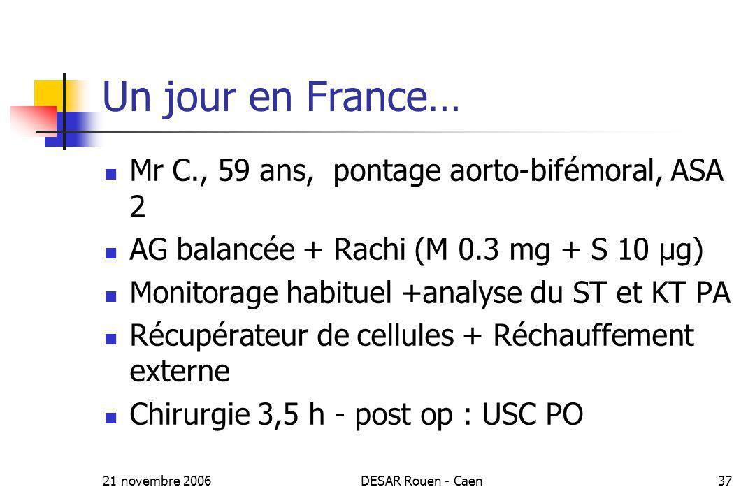 Un jour en France… Mr C., 59 ans, pontage aorto-bifémoral, ASA 2