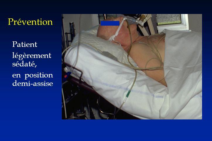 Prévention Patient légèrement sédaté, en position demi-assise