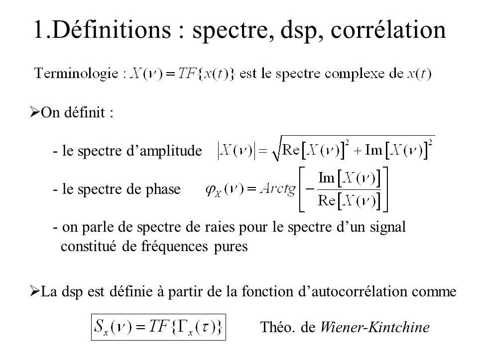 1.Définitions : spectre, dsp, corrélation