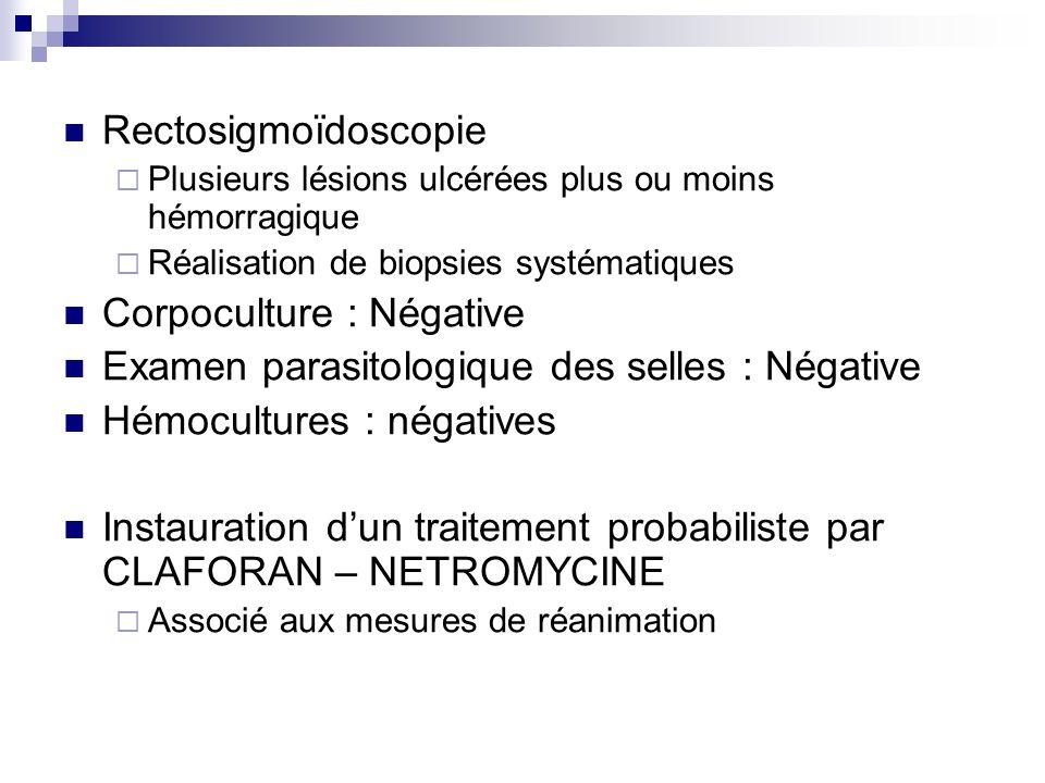 Corpoculture : Négative Examen parasitologique des selles : Négative