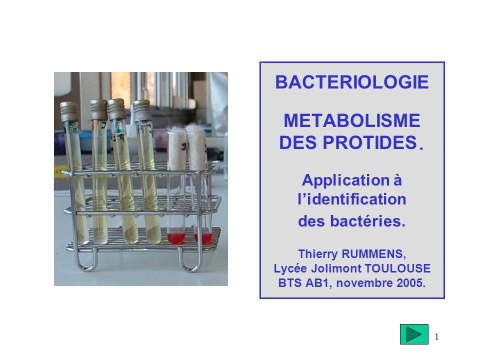 BACTERIOLOGIE METABOLISME DES PROTIDES