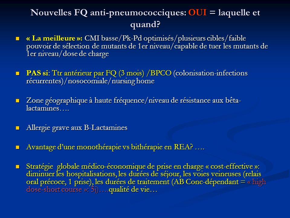 Nouvelles FQ anti-pneumococciques: OUI = laquelle et quand