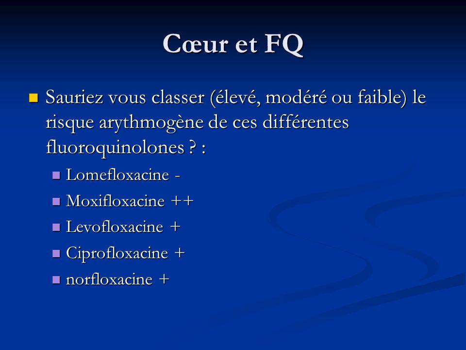 Cœur et FQ Sauriez vous classer (élevé, modéré ou faible) le risque arythmogène de ces différentes fluoroquinolones :