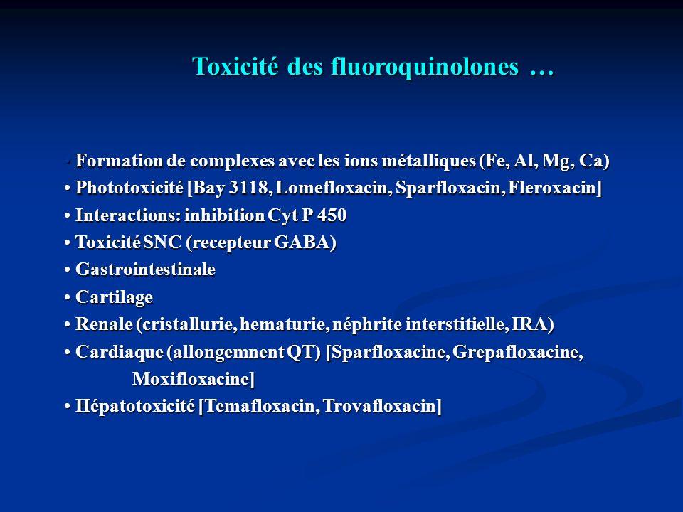 Toxicité des fluoroquinolones …