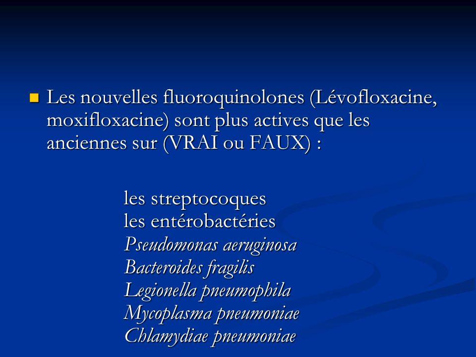 Les nouvelles fluoroquinolones (Lévofloxacine, moxifloxacine) sont plus actives que les anciennes sur (VRAI ou FAUX) :