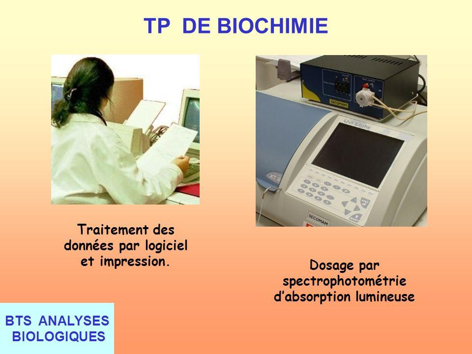 TP DE BIOCHIMIE Traitement des données par logiciel et impression.